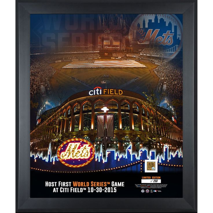 "New York Mets 2015 MLB World Series Framed 20"" x 24"" First World Series Game at Citi Field Collage with a Piece of World Series Game 3 Dirt"