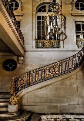 The Petite Trianon is a tiny chateau that was originally built for Madame de Pompadour and upon her death (she died 4 years before its completion) Louis XV gave it to his new favorite Madame du Barry. Louis XVI gifted it to Marie-Antoinette in June of 1774. This is the Main Stairway ~ The banister with the famous MA pattern has been refurbished.