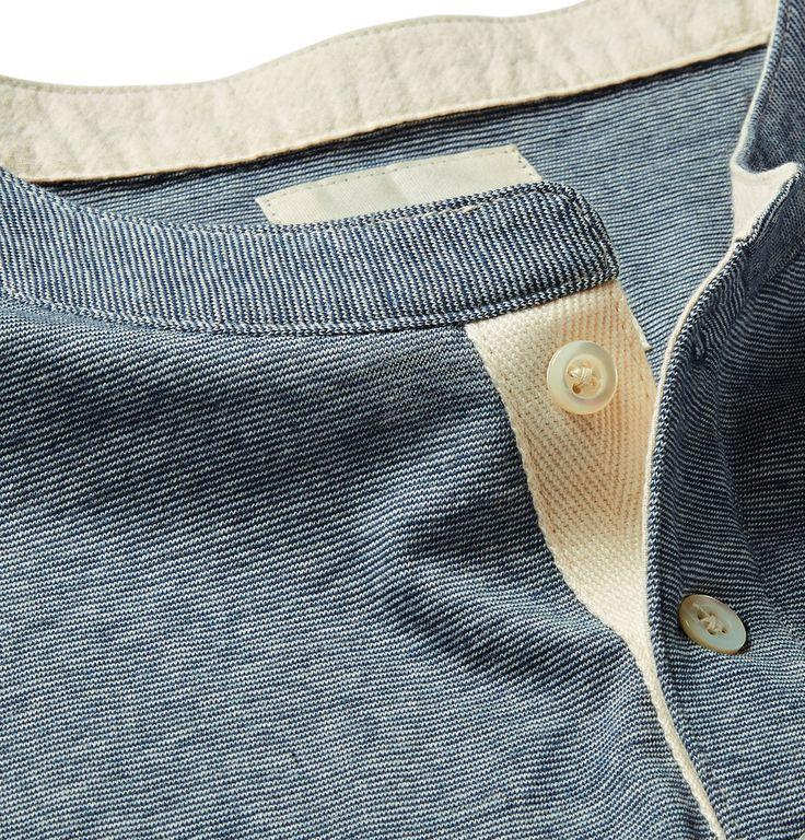 Billy Reid - Micro-Stripe Cotton-Blend Jersey Henley T-Shirt MR PORTER