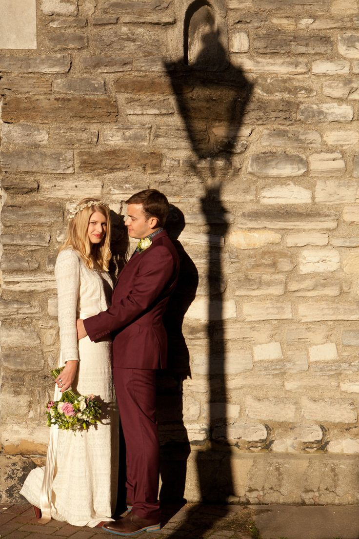 A Wax Flower Headpiece and Isabel Marant Dress Burgundy Suit Poole Wedding