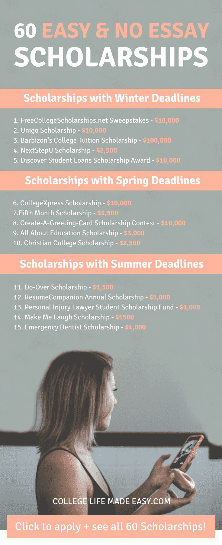 No Essay Scholarships To Apply For On Your Phone In   This List Of No Essay Aka Easy Scholarships Is Going To Be A Life Saver  For Me I Need To Get On Top Of Applying For As Many As I Can