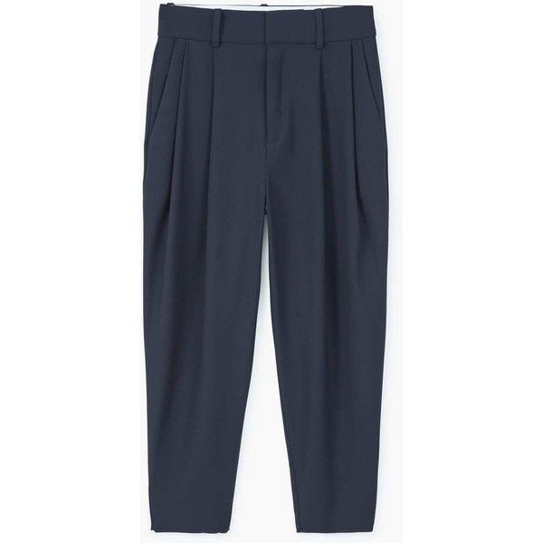 MANGO Suit cropped trousers (2 105 UAH) via Polyvore featuring pants, capris, high waisted cropped pants, cropped trousers, high rise trousers, cropped capri pants and mango trousers
