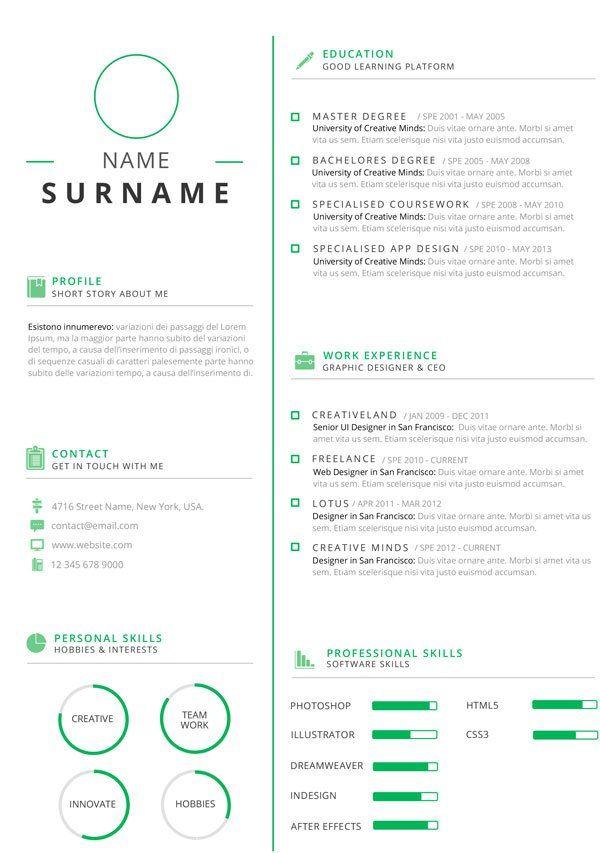 9 best CV Flat Design images on Pinterest Flat design, Flat - ui designer resume