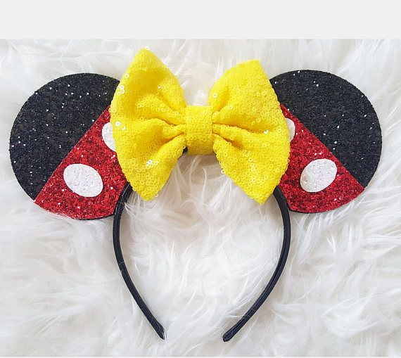 Sparkly Mickey Ears Headband Red and Yellow Mouse Ears Rapunzel Mickey Ears Sparkle Mouse Ears Mickey Ears Min Sparkle Minnie Ears