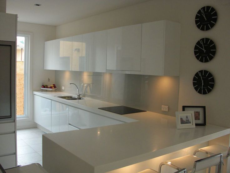 Glossy white flat front kitchen cabinets Flat Pack Kitchen