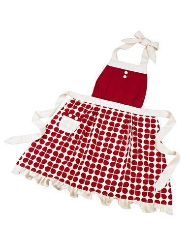 Anna Gare Daisy Apron Red & Cream