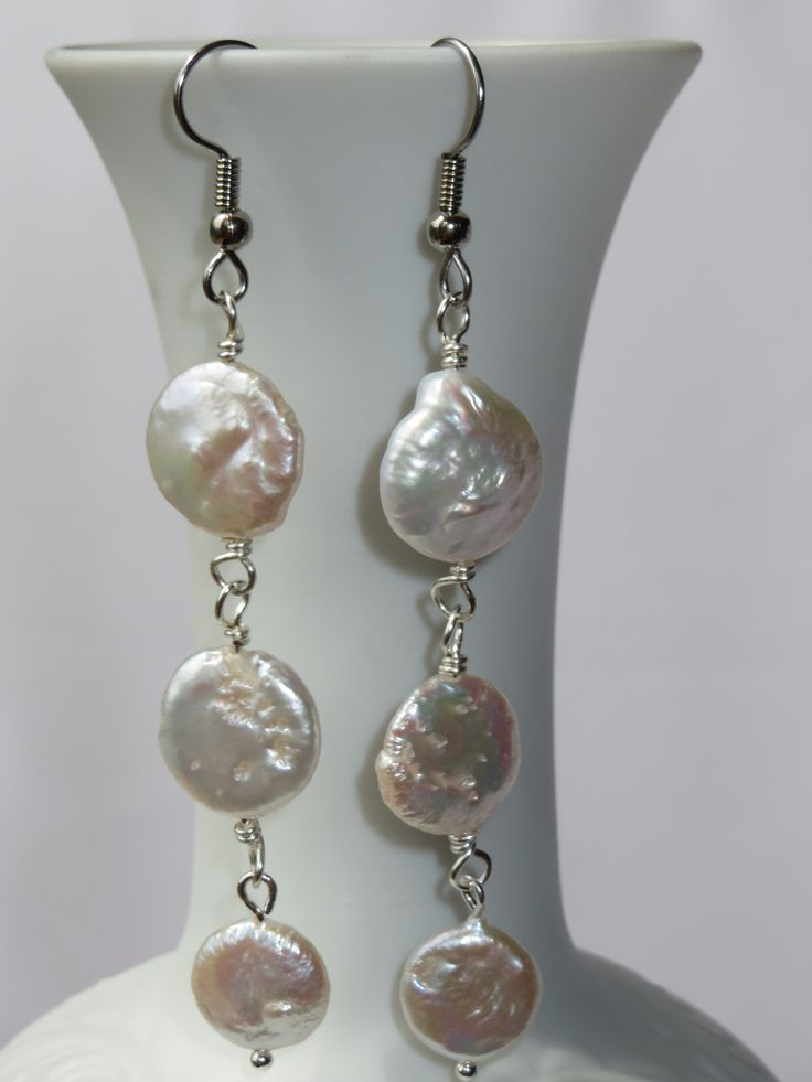 SOLD Coin pearls - a generous 3 inches long overall, bumpy and irregular like only nature can make it. Stainless steel hooks, backings included https://www.facebook.com/ThielenJewelry/photos/a.1051830928162271.1073741861.213923508619688/1057664947578869/?type=3&theater