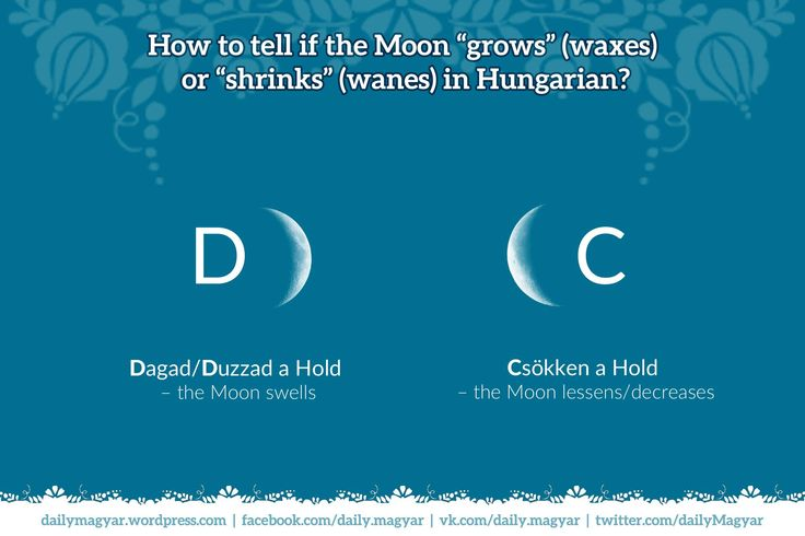 dagadni – to swell; to rise; to wax; to fatten; to belly || duzzadni – to swell; to belly || csökkenni – to decrease; to lessen; to wane || Hold – Moon #LearnHungarian, #Hungarian,#HungarianWords