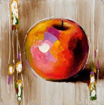 schilderij appel 25x25 https://www.schilderijenshop.com