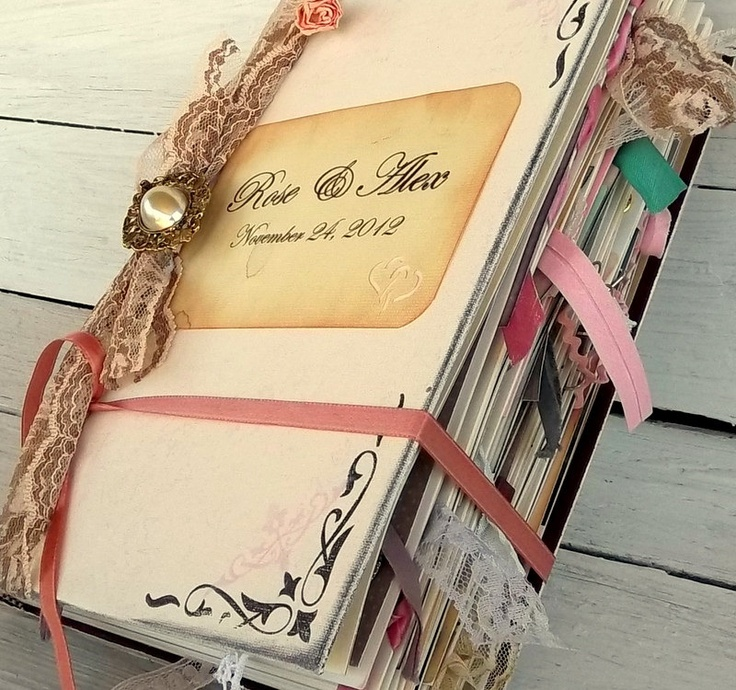 Wedding guest book alternative Extra embellishments, Romantic lace, pearls, flowers Extra Large. $250.00, via Etsy.