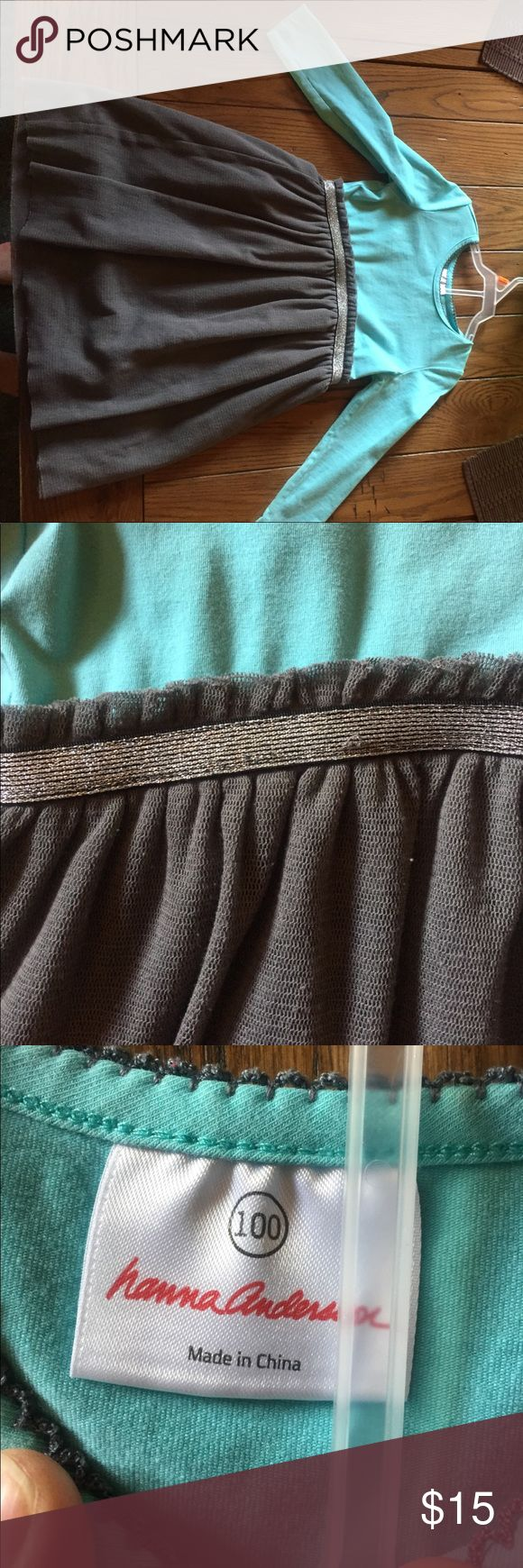 Hanna Anderson aqua blue and grey party dress 🎃🍁 Hanna Andersson blue and grey fall party dress. Cute sparkly belt detailing at waist. Cotton bodice and polyester flared layered skirt. Size 100 fits about a 4t. Comfy, adorable and perfect with boots for fall! 🎃🍁 Hanna Andersson Dresses Casual