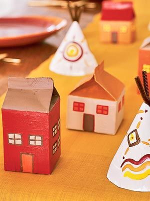 Community Project: House Crafts, Thanksgiving Crafts, Thanksgiving Ideas, House Sketch, Older Kids, Kids Crafts, Milk Cartons, Cartons House, Paper Plates