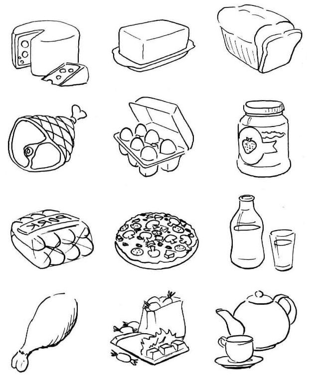 lunch food coloring pages - Gecce.tackletarts.co