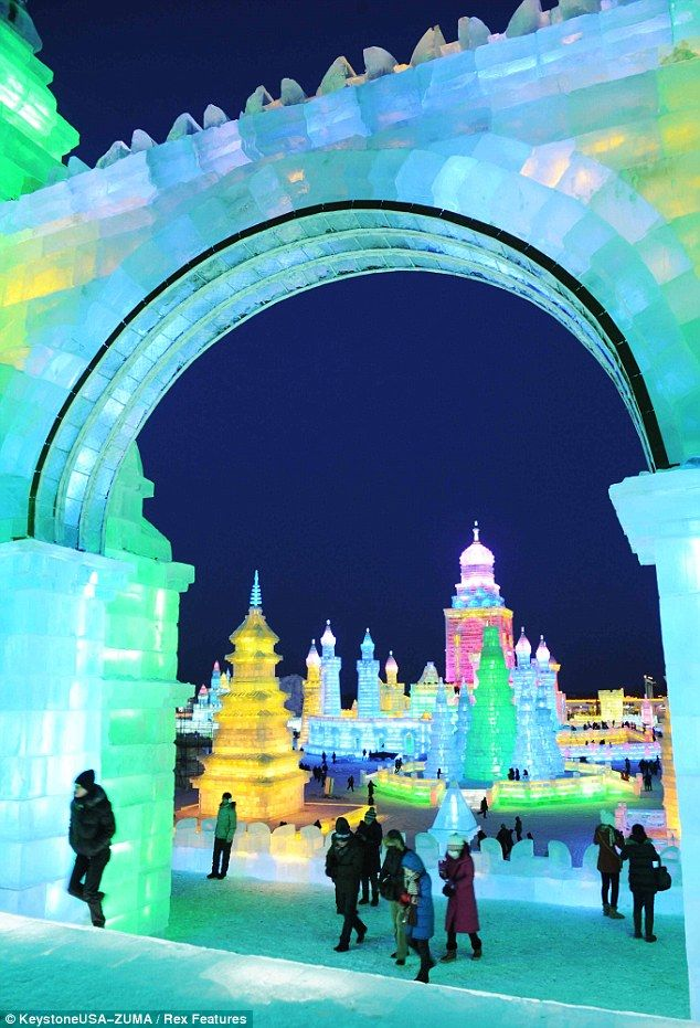 International Ice and Snow Festival in Harbin, China creates an entire city made from ice and snow.  Festival activities include alpine skiing, ice slides, amazing city of ice sculptures and more. Next Festival starts on January 5, 2014.