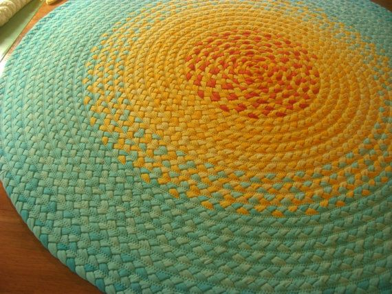 52 Misty mint braided rug Created from USA by greenatheartrugs- Wonderful colors and great reuse project...now who do I know who has LOTS of old white t-shirts ready for the trashcan,hmmm?