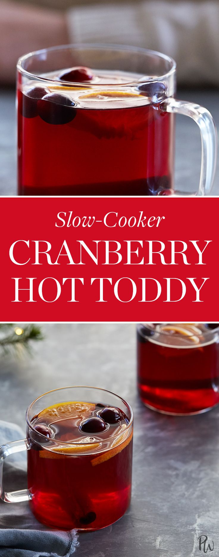 Slow-Cooker Cranberry Hot Toddy  #purewow #recipe #holiday #cocktail #food #christmas #new year