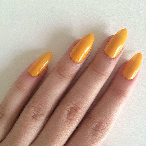 Gloss yellow stiletto nails, hand painted acrylic nails, fake nails,... ($19) ❤ liked on Polyvore featuring beauty products, nail care and nail treatments