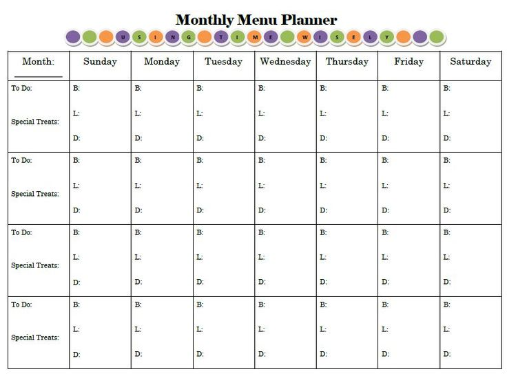"""Monthly Menu Planner - like the """"To Do"""" column"""