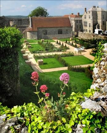 The Princess Beatrice Garden at Carisbrooke Castle, Isle of Wight, UK. there has been a building on the site since pre Roman times. Charles I was imprisoned here prior to his trial in in 1649