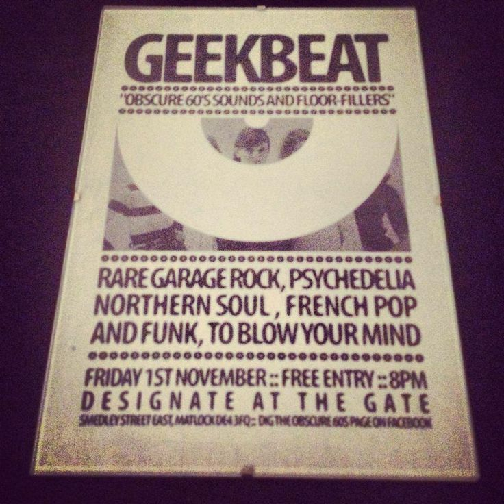 Geek Beat night - Specialist music nights at Designate @ the gate, Matlock, Derbyshire
