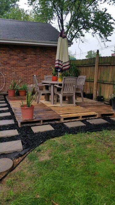 Pallet patio. $4 pallets, .50 cent pavers, $2 bags of mulch.