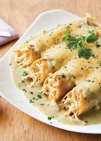 Enchiladas suizas. Receta completa y fácil para preparar deliciosas enchiladas suizas. Gratinadas con queso manchego. |Revista Cocina Vital