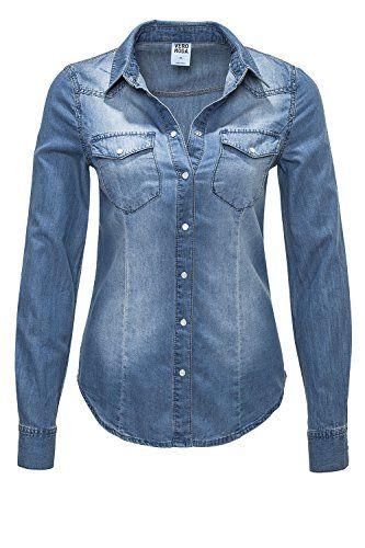 72c1598388fad1 VERO MODA Damen Jeansbluse Denim Jeanshemd (M Blue Denim). Normale  Passform. Leicht tailliert. Mit Druckknöpfen zu schließen. Zwei Taschen  vorne.