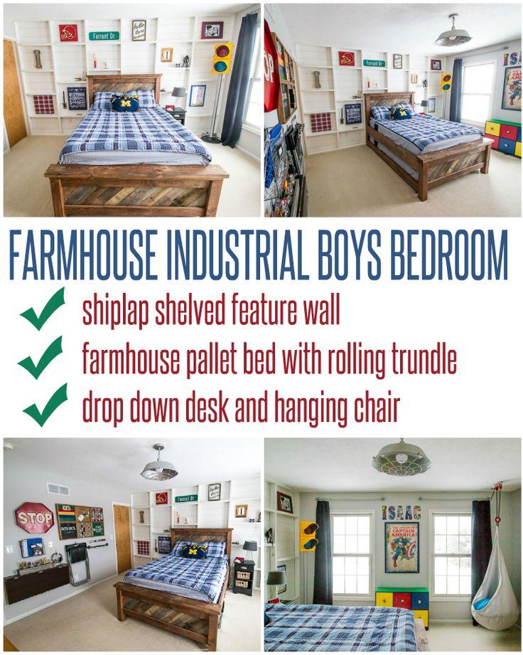 farmhouse industrial boys bedroom - Boys Desk Ideas