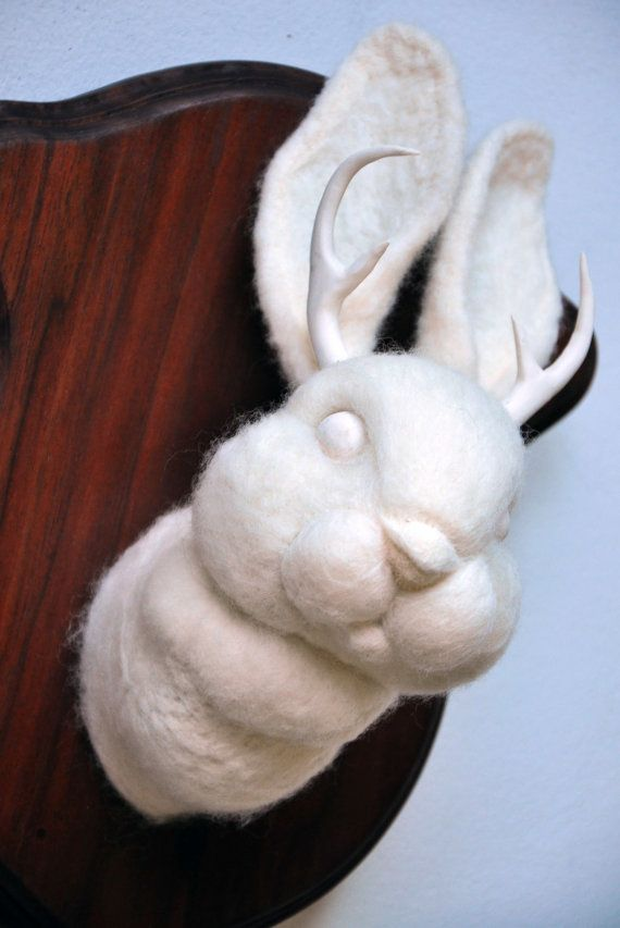 Jackalope Head Mount - Faux Taxidermy Needle Felted Wool by Nocik