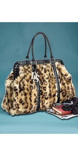 Fabulous Furs | Leopard Print Faux Fur Weekend Bag