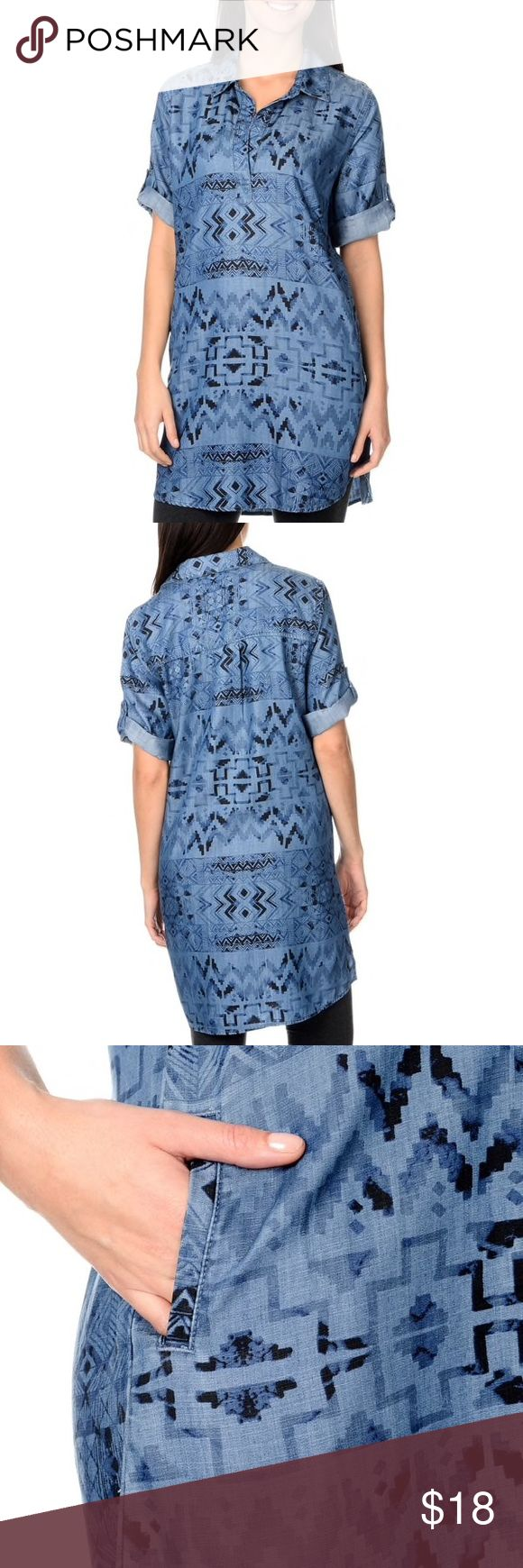Aztec Denim Shirt Dress SUMMER SALE ☀️ Stylish and casual, this Aztec print shirt dress offers a comfortable fit and fun style. With a shirt collar, roll tab short sleeves, shirt tail hem, and two slit pockets, this shirt dress is perfect for everyday wear.   The approximate length from the top center back to the hem is 36 inches. The measurement was taken from a size M. This item is size S.  Materials: 100-percent Tencel Machine washable Model: 2890612 Chelsea & Theodore Dresses Mini