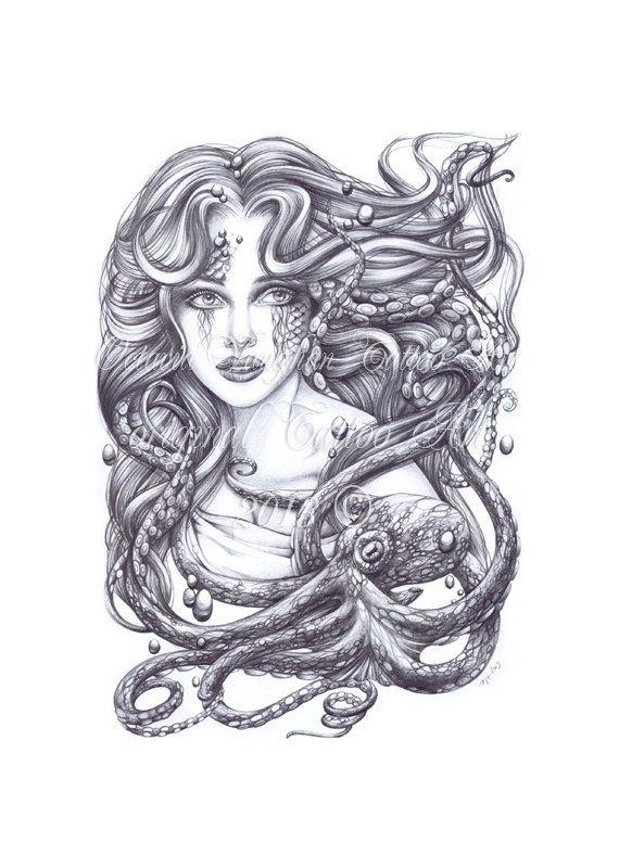 mermaid and octopus print