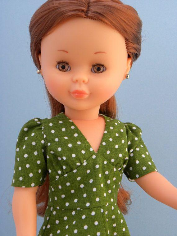 For Nancy Famosa doll floor length green polka dot dress