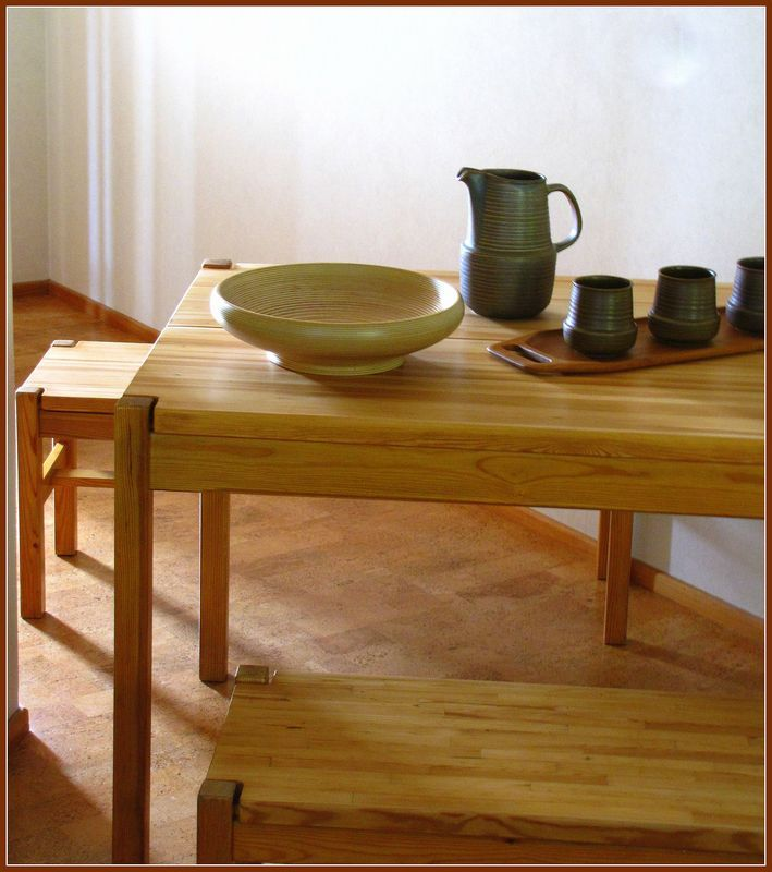 HONGISTO solid pine wood dining set, designed by Ilmari Tapiovaara for Laukaan puu Ltd.