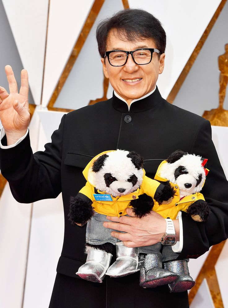 Jackie Chan Brought His Pandas To The Oscars & They Wore Uggs+#refinery29