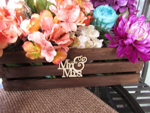 wooden crates / mr and mrs sign / flower vase / by primitivearts