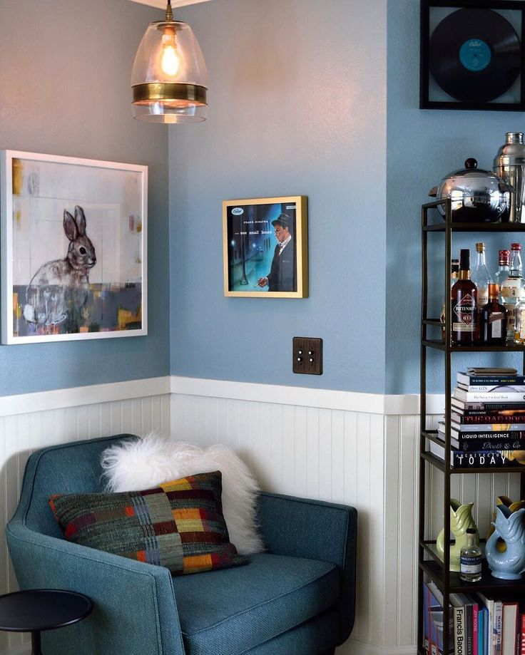 Frank Sinatra in the Wee Small Hour Remi Bookcase Small Brushed Brass Frame 12x12 Dash of Grey Gia Chair  cratecocktails It's time for the big reveal. Click link in bio to step into 12 Bottle Bar's new home bar and listening room.  #CrateCocktails