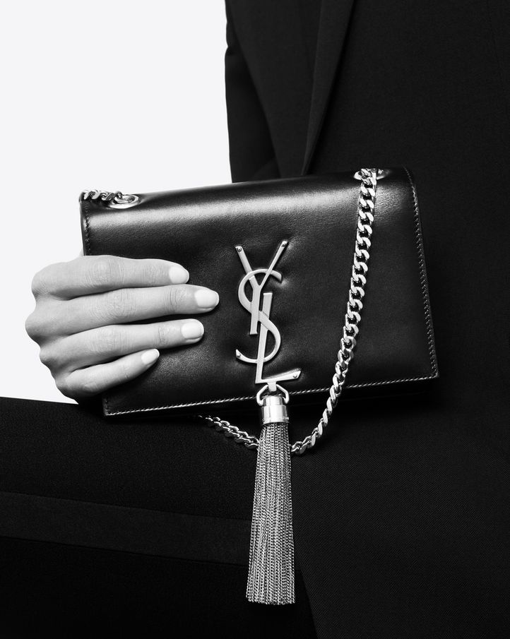Womens Monogram Kate Small Satin Chain Bag Saint Laurent CLX6mrTERu
