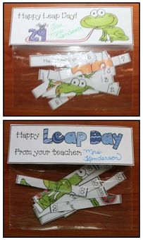 Leap Day activities: Cute & inexpensive little surprise to give your students on Leap Day. Pattern has 4 on a page. Print, trim & tuck into a Snack Baggie.  Includes 3 header options that double as bookmarks.