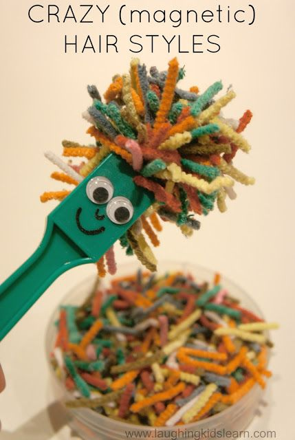 Creative and fun way of using magnets with children. Simply add a face to any magnet and use small strips of pipe cleaners to create wild and wacky hair designs. Great for fine motor.Laughing Kids Learn.com