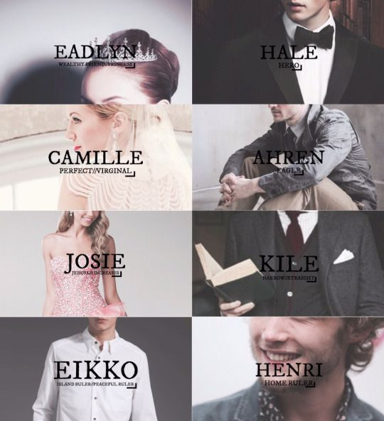 Eadlyn, Ahren, Camille, Hale, Eikko, Kile, and Henri all from the Heir