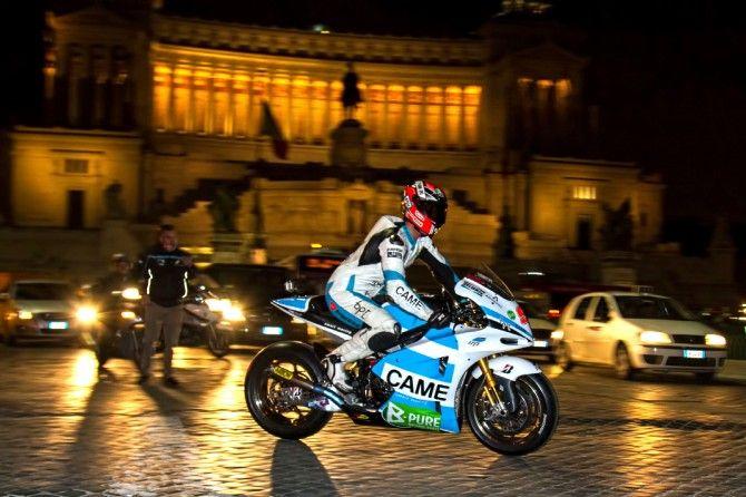 Iodaracing/Team Came rider Danilo Petrucci takes his MotoGp Ioda TR003 for a spin in downtown Rome, between Piazza Venezia and Via del Corso. 12 March 2013