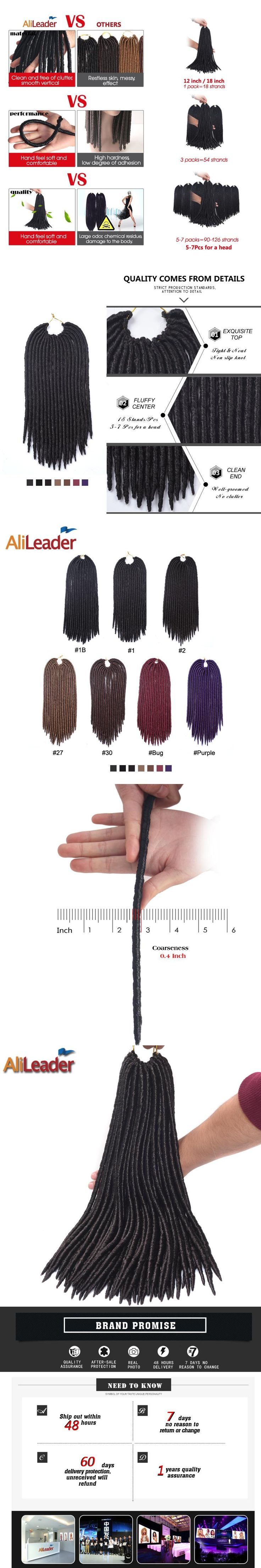"AliLeader 12"" Short 18"" Middle Size Faux Locs Crochet Hair Kanekalon Pre Braided Hair Extensions 18 Strands Synthetic Hair Weave"