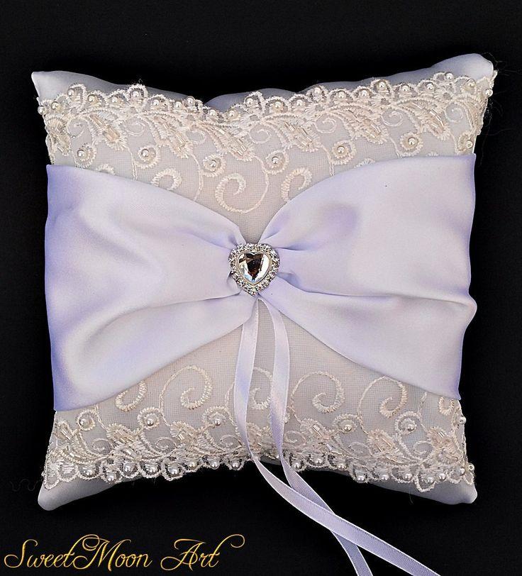 Almohada portadora anillos blanco,almohada para boda encaje,cojín anillos personalizado,almohada boda satén,cojín novia blanco,cojín nupcial de SweetMoonArt en Etsy