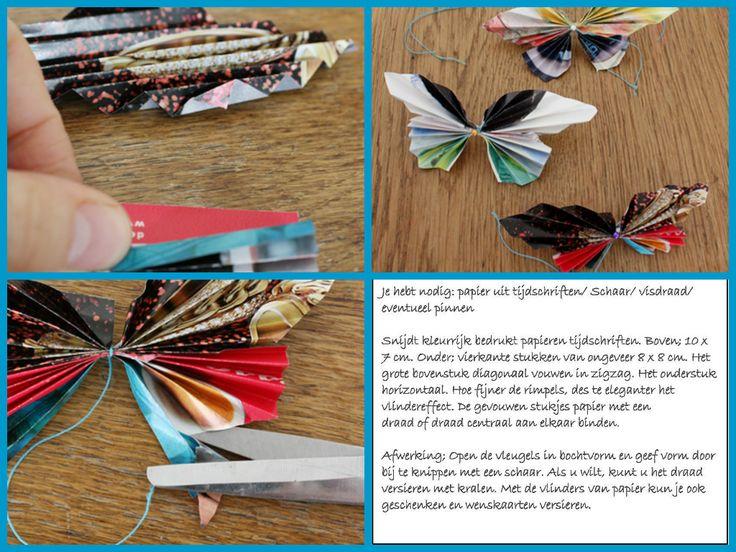 Een papieren vlinder maken. Leuk als mobile of als versiering op een cadeautje.