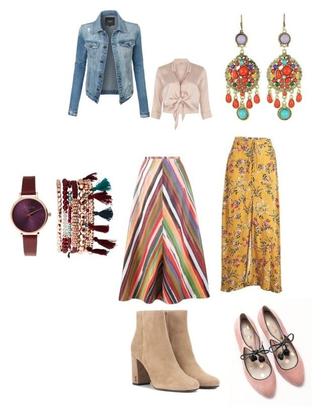 богемный стиль by goncharova2207 on Polyvore featuring мода, River Island, LE3NO, Rosie Assoulin, Yves Saint Laurent, Boden, Jessica Carlyle and WithChic