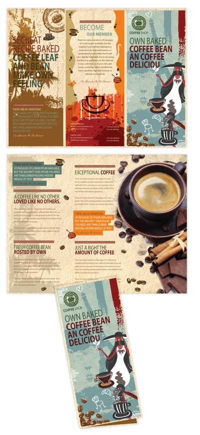 Coffee Shop Tri Fold Brochure Template  Coffee shop tri fold brochure template will be a good choice for presentations on coffee shop. Download tri fold brochure template, edit & print!    SKU : TF090127LT  Page Size : 8.5in x 11in  Fold Type : Tri Fold  Purchase Includes : Artwork, Hi-resolution (CMYK) images & Fonts (included in download file)  Software Requirement : Adobe Illustrator CS 3    http://dlayouts.com/13-All-Items/486-Coffee-Shop-Tri-Fold-Brochure-Template/flypage.tpl.html