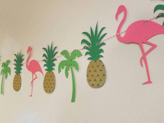 Luau party banner flamingo banner Hawaiian luau by lifeisforthefun