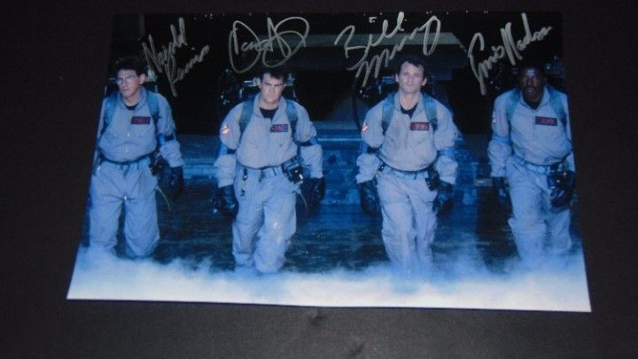 Ghostbusters cast signed autographed photo Dan Aykroyd Harold Ramis Bill Murray