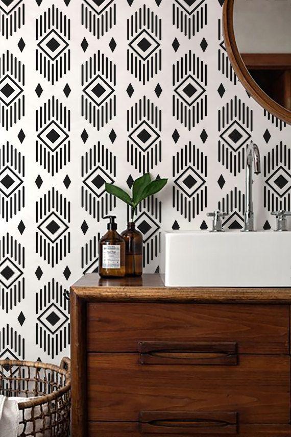 Monochrome Aztec Wallpaper/ Black and White Removable Wallpaper/ Self-adhesive Wallpaper / Wall Covering - 131
